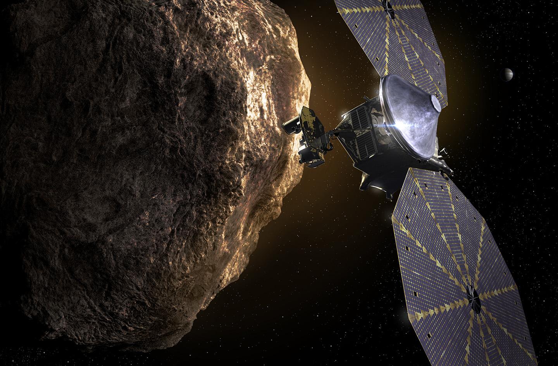 Vue d'artiste de Lucy. NASA/SwRI.