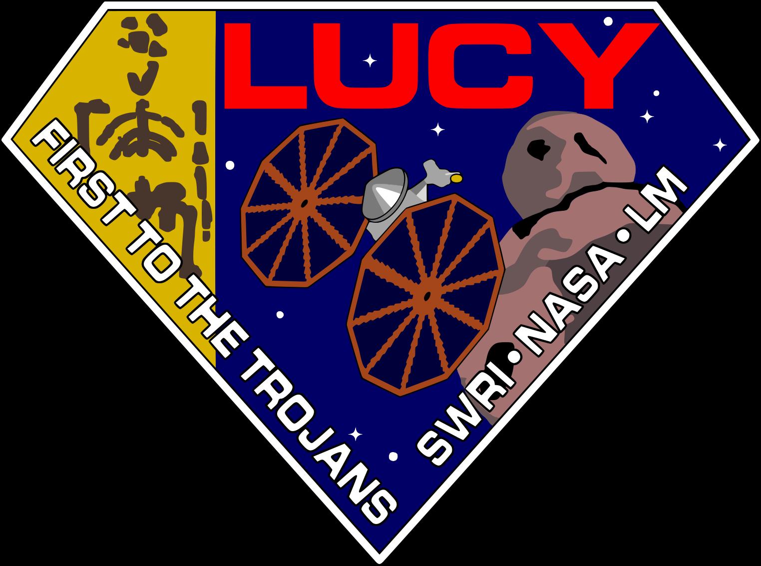 Le badge de la mission Lucy. On y voit la sonde Lucy avec ses deux grands panneaux solaires et un astéroïde.