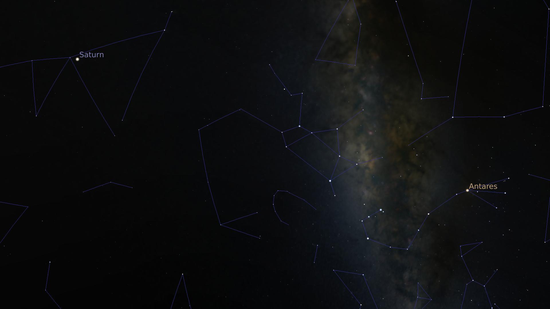 Une capture d'écran dans Stellarium. On y voit un bout de Voie Lactée, Antarès et Saturne.