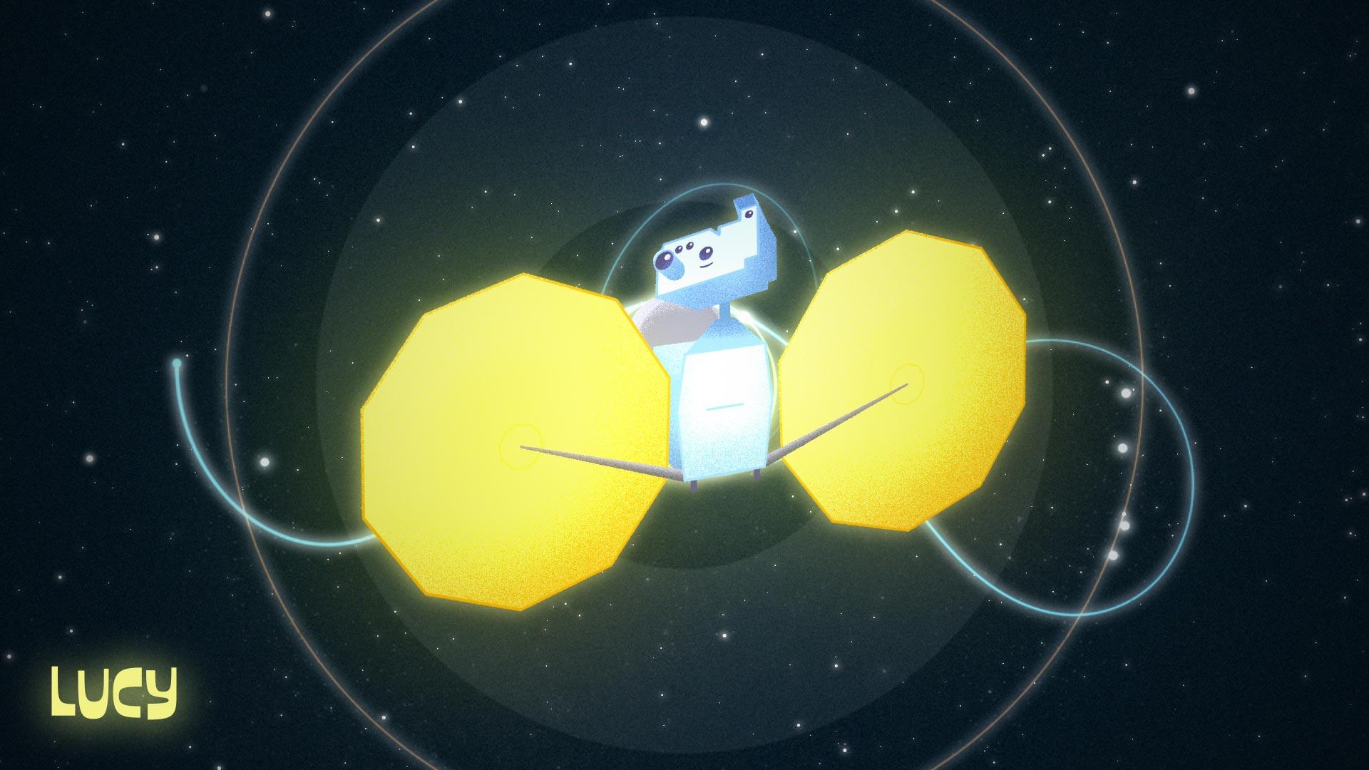 Vision d'artiste de la sonde Lucy. NASA/JPL.